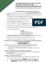 3rd Semester MBA Assignment & Seminar Topics 2013