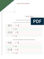 Ecuación de la parábola