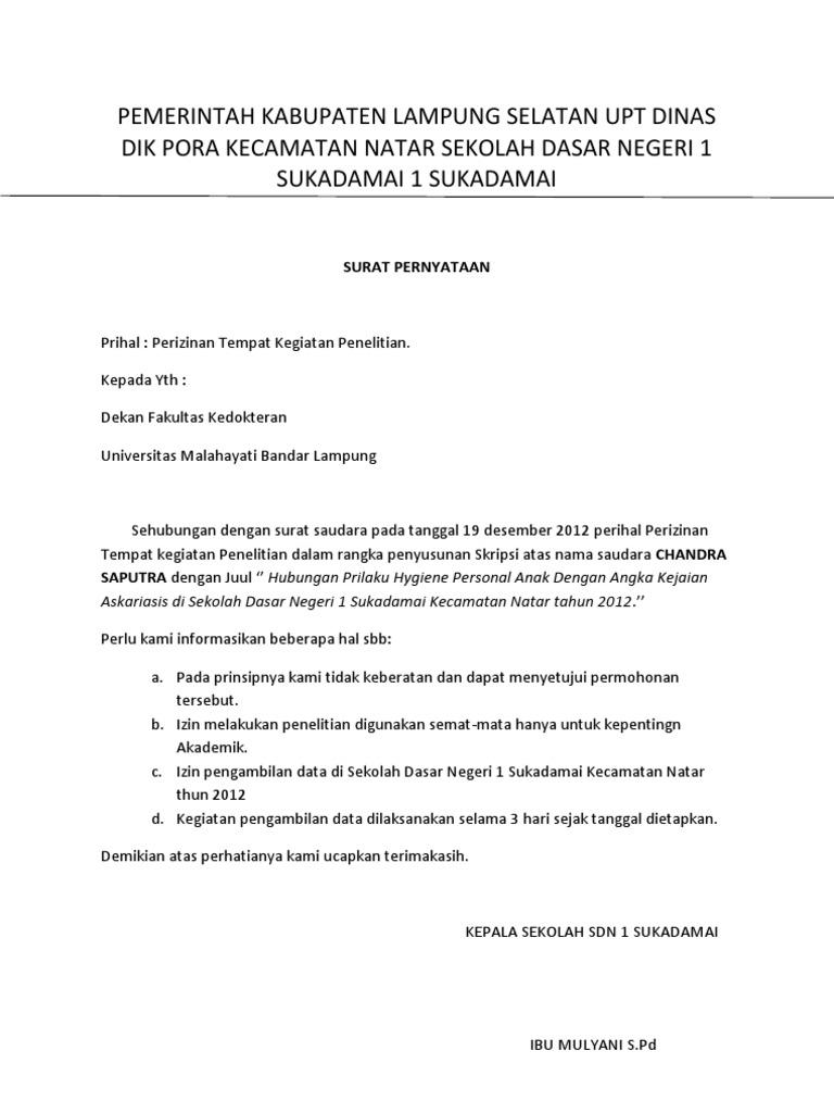 Gambar Contoh Surat Balasan Ijin Penelitian Skripsi Sekolah Upaya