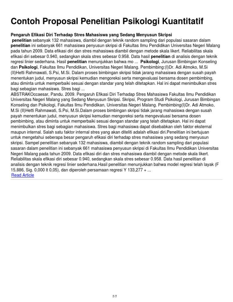 Contoh Proposal Penelitian Psikologi Kuantitatif