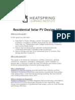 Residential Solar PV Design 101