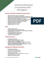 Programme prévisionnel des formations 2011 du CESI Algérie