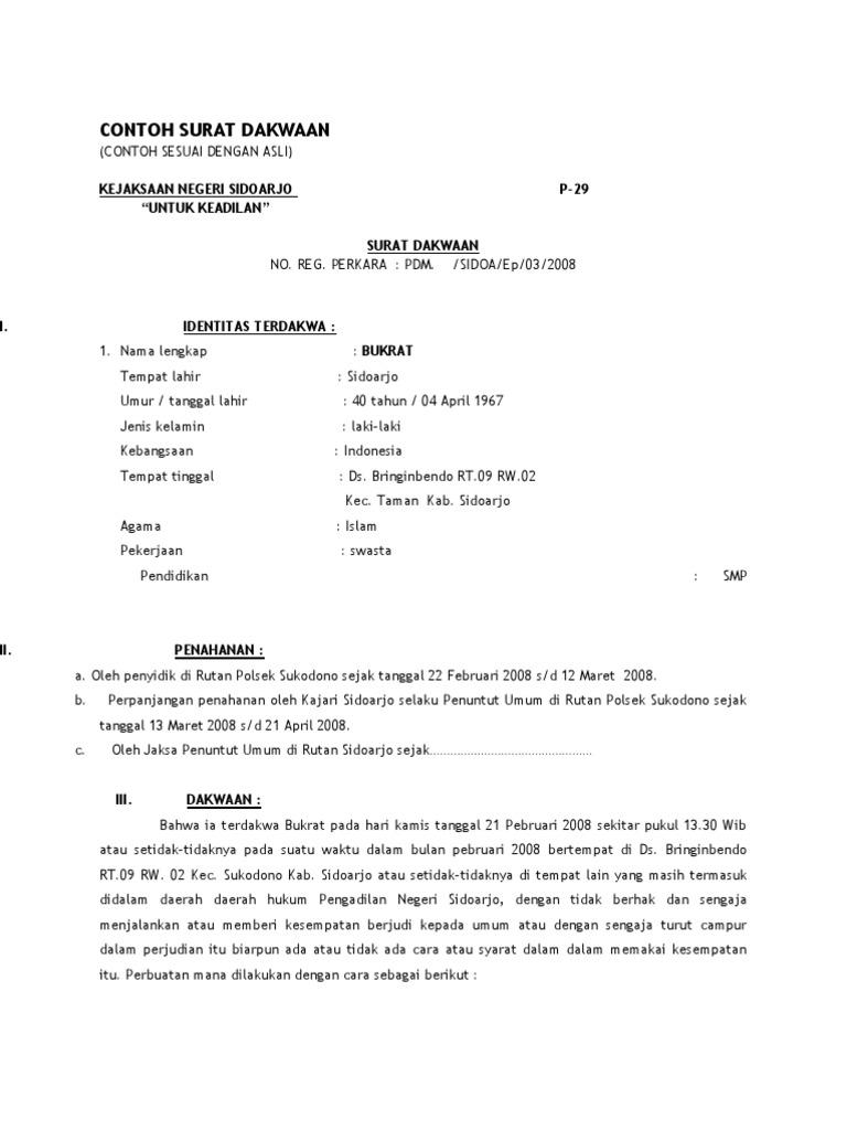 Contoh Surat Dakwaan Alternatif Surat 20