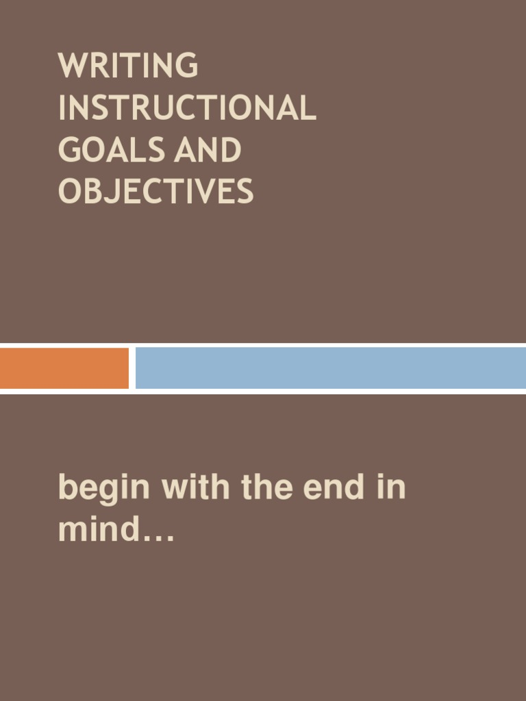 Writing Instructional Goals And Objectives Competence Human