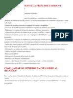 EXEMPLOS DE ASSUNTOS A SEREM DISCUTIDOS NA REUNIÃO DA CIPA