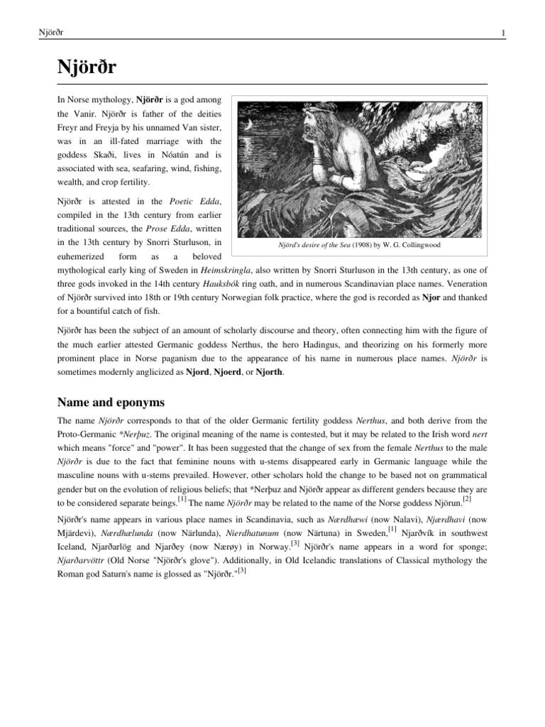 Njörðr | Germanic Mythology | Germanic Paganism