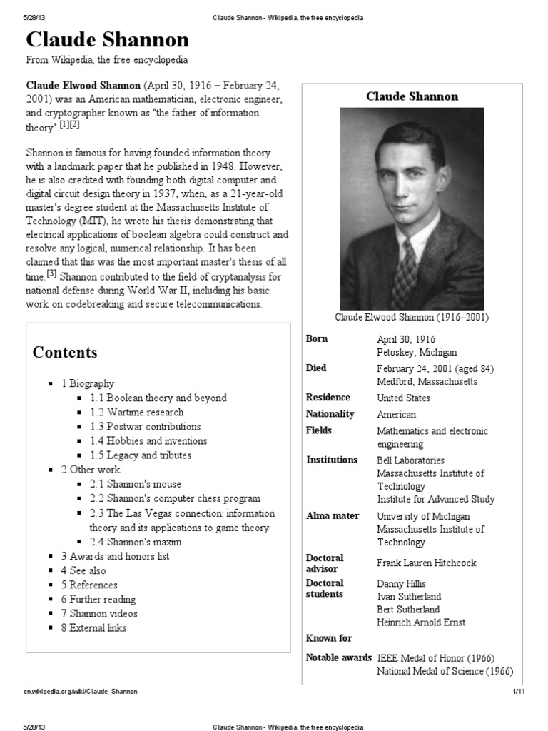 Claude Shannon Wikipedia The Free Encyclopedia Science And Electronic Circuit Design Software Technology