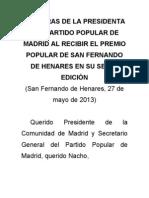 Palabras de La Presidenta Del PP de Madrid Al Recibir El Premio Popular de San Fernando de Henares