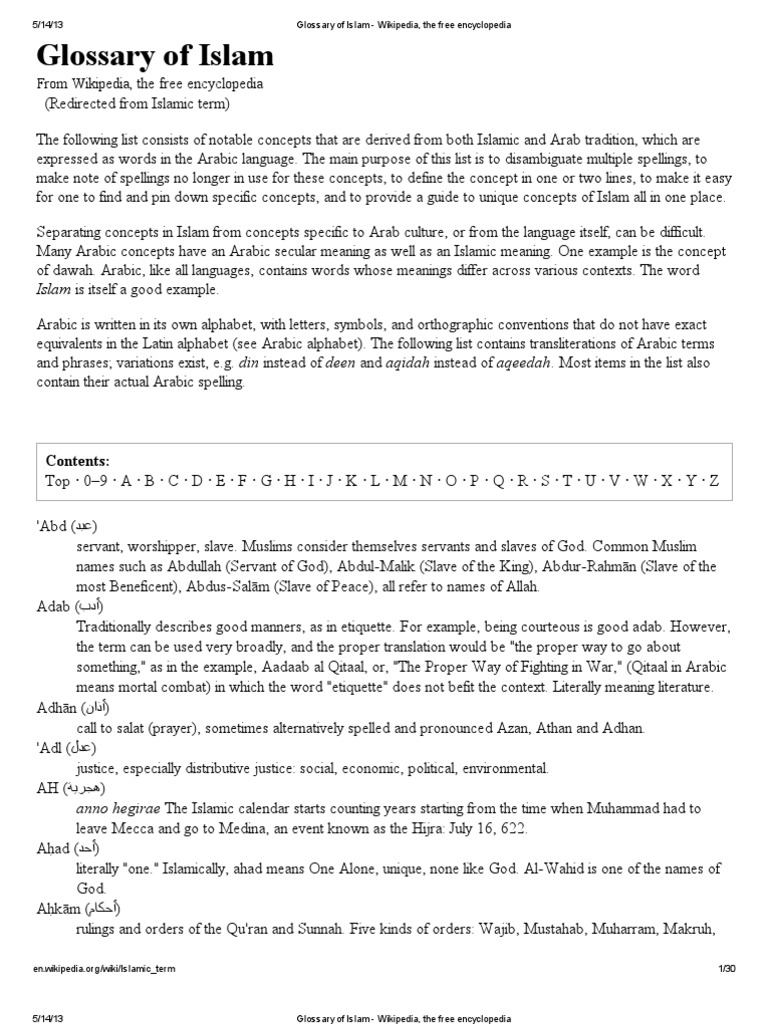 Glossary Of Islam Wikipedia The Free Encyclopedia Prophets And