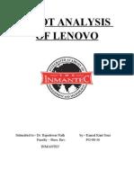 Swot Analysis of Lenovo by Kamal Kant Soni @ Pg-08-36