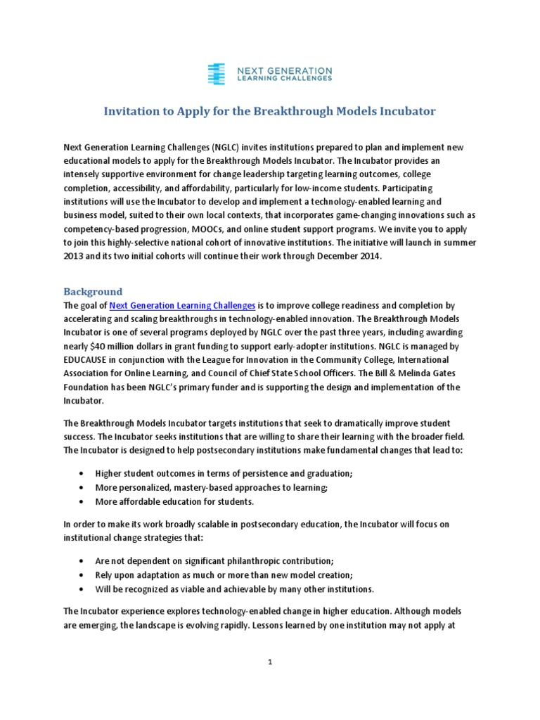 Invitation To Apply For The Breakthrough Models Incubator Final