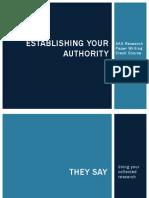 Establishing Authority (Project Three)