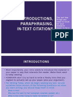 Introductions, Paraphrasing, In-Text Citations (Project Two)