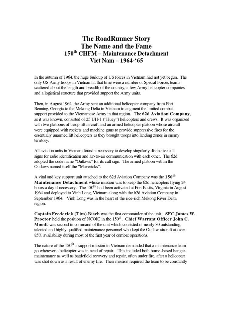 150th CHFM – Maintenance Detachment | Bell Uh 1 Iroquois | Vietnam War