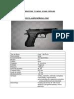 CARACTERISTICAS TÉCNICAS ARMAS (pistola)