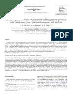 4. Comparación de la degradación del AA con HHP y pasteurizacion