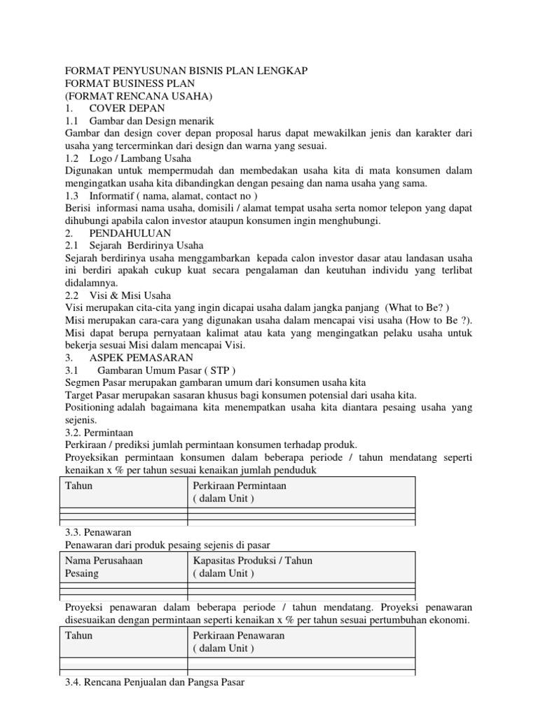 Format Penyusunan Bisnis Plan Lengka1