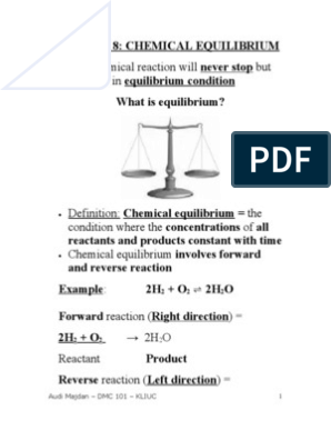 Chapter 8-DMC 101-Chemical Equilibrium pdf | Chemical