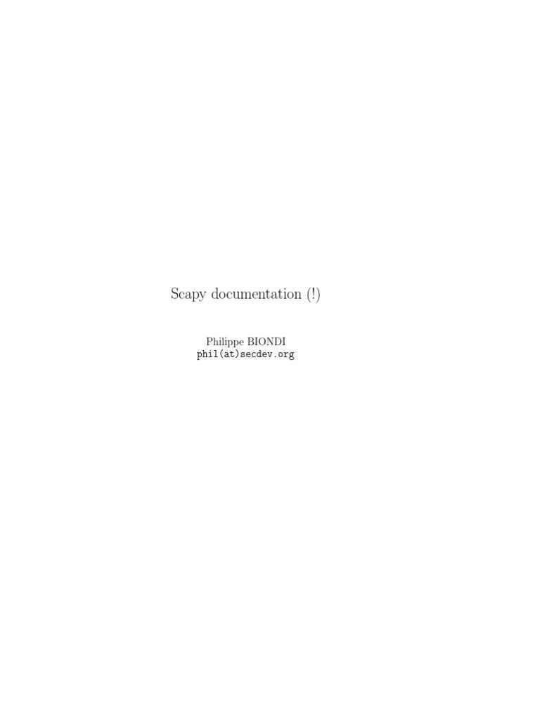 Scapy Documentation | Network Socket | Transmission Control Protocol