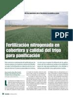 Fertilizacion Nitrogenada en Cobertera y Calidad Del Trigo Para Panificacion