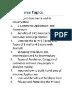 E-Commerce Topics