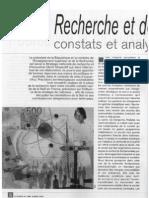 Recherche et développement - Constats et analyses