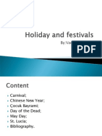 Holiday and Festivals