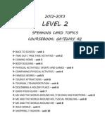 2012-13 LEVEL 2, Speaking Card Topics