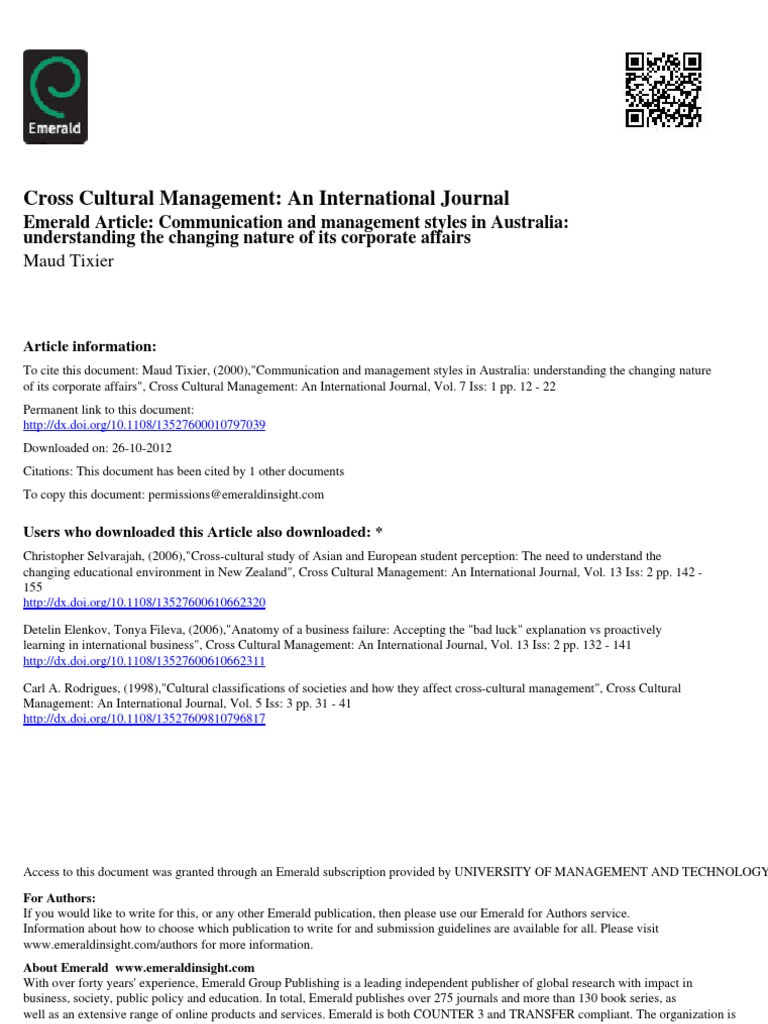 Emerald Group Publishing International Journal – EdPeer