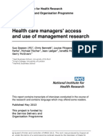 Dopson et al (2013) Health Care Managers' Access & Use of Management Research