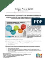 Boletín 028_ Recomendaciones para intensificación de medidas de prevención de la transmisión de virus respiratorios con énfasis en AH1N1