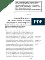 Algunas Ideas a tener en cuenta cuando se escribe una propuesta de investigación. CLACSO. 2005