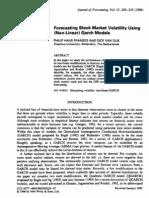 Forecasting Stock Market Volatility Using Nonlinear) Garch Models