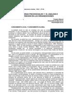 Munne, f. Las Teorias Psicosociales y El Analisis e Intervencion en Las Organizaciones