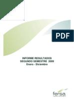 Fersa Informe resultados segundo semestre 2009