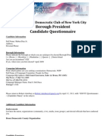 Ruben Diaz Jr. -Sdnyc 2013 Borough President Candidate Questionnaire