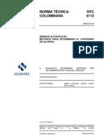 NTC 5113-2003. Bebidas alcohólicas. Métodos para determinar el contenido de alcohol.pdf
