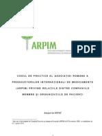 Cod de Interactiune Cu Organizatiile de Pacienti 2010 RO