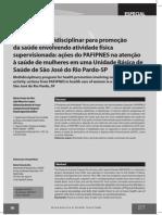 SBAFS Programa multidisciplinar para promoção da saúde envolvendo atividade física supervisionada ações do PAFIPNES na atenção à saúde de mulheres em uma UBSaúde
