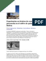 Experiencias en técnicas de cosecha y poscosecha en el cultivo de quinua en Bolivia