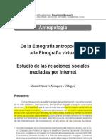 De la Etnografía antropológica a la Etnografía virtual