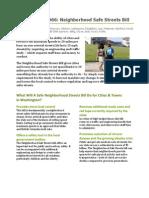 Neighborhood Safe Streets Bill Fact Sheet (Bicycle Alliance of Washington, March 2013)