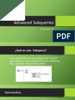 Advanced Subqueries