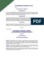 Reglamento Orgánico Interno del Ministerio de Finanzas Públicas
