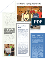 Spring 2013 Christ Cares Newsletter - URBAN MISSIONARY REPORT