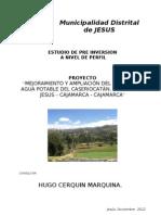 Pf Agua Potable Jesus Catan - Memoria Descriptiva