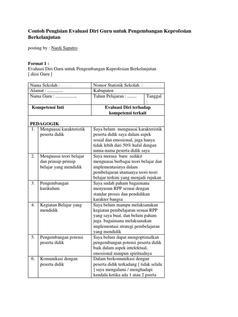 Contoh Pengisian Evaluasi Diri Guru Untuk Pengembangan