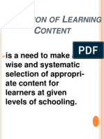 sELECTION OF lEARNING cONTENT