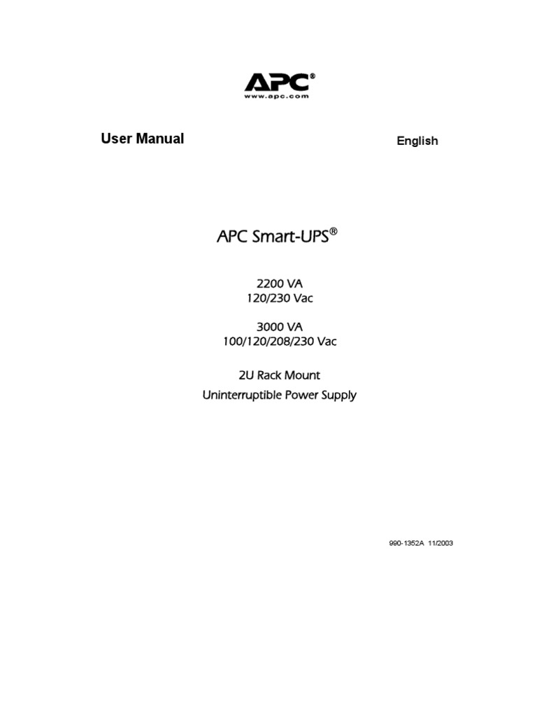 Apc Ups 3000 Manual   Electrical Connector   Electromagnetic