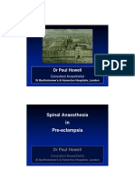 Spinal Anaesthesia in Pre-eclampsia